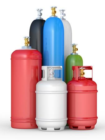 cilindro: Los cilindros con los gases comprimidos en un fondo blanco