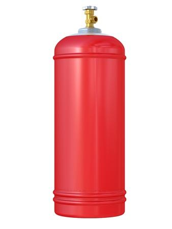 cilindro de gas: globo rojo de gas aisladas sobre un fondo blanco