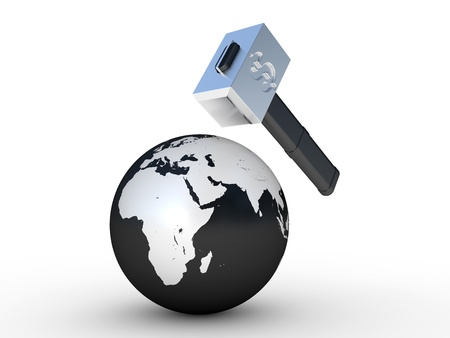 The earth and hammer with a dollar sign on a white background photo
