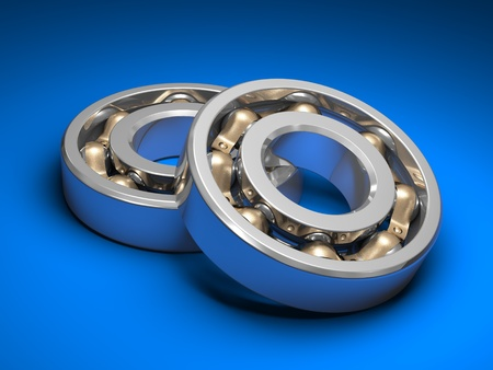 ball bearing: Ball bearing isolated on blue background