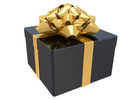 fiocco oro: Regalo scatola nera con fiocco d'oro. Immagine 3D. Archivio Fotografico