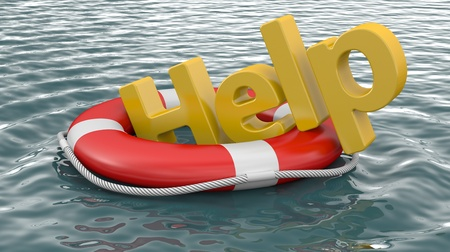 Rettungsring auf dem Wasser mit der Aufschrift HILFE Standard-Bild