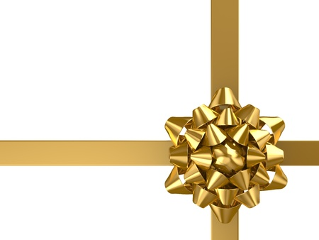 Gold ribbon with bow isolated on white Stock Photo