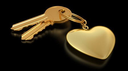 keyring: two gold keys and heart on the black background