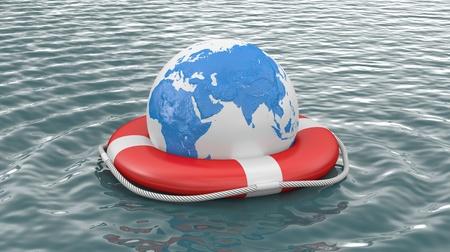 Rettungsring auf dem Wasser mit der Aufschrift HILFE Lizenzfreie Bilder - 11097060