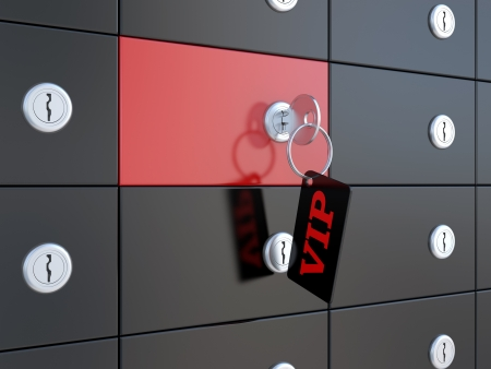 safe deposit box: VIP safety deposit boxes and key in the keyhole