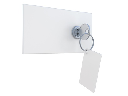 safe deposit box: safety deposit boxes and key in the keyhole Stock Photo
