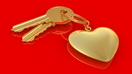 two gold keys and heart on the red background photo