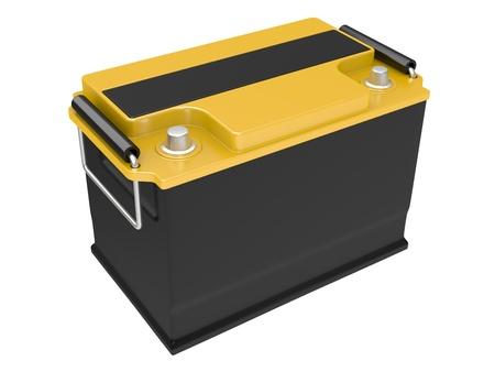 Car battery isolated on white background photo