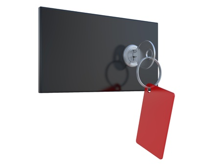 depository: safety deposit boxes and key in the keyhole Stock Photo
