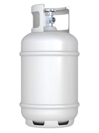 실린더: 흰색 가스 풍선 흰색 배경에 고립