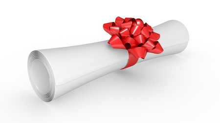 paper scroll with red ribbon on white background photo