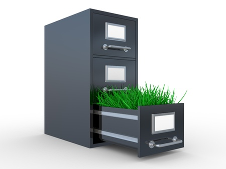archive: Open steel office box with grass. 3D image on a white Stock Photo