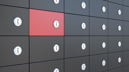 safe deposit box: black and red safety deposit boxes, 3d illustration