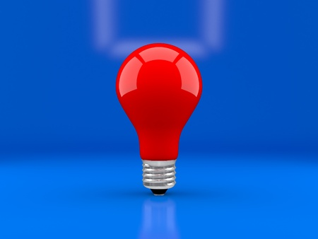 socle: Red bulb on a dark blue background, the caution concept