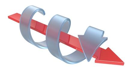 interactions: Twee pijlen - de concurrentie en interacties concept geà ¯ soleerd op een witte