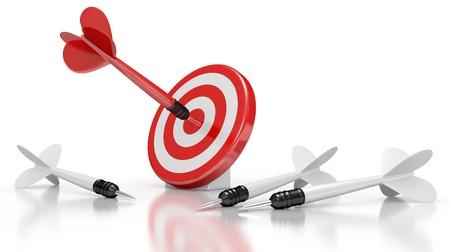 Dart Kollision mit einem Target. Führungskonzept. 3d illustration