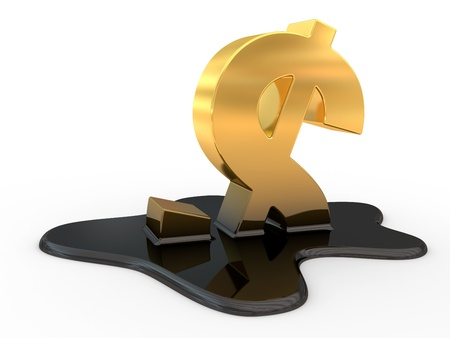 fused dollar sign and oil. 3d illustration on a white background
