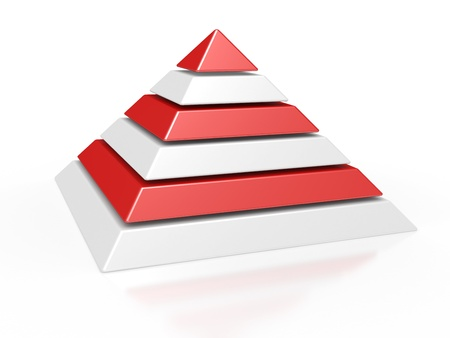 stage chart: 3d illustration of a pyramid with six colored levels