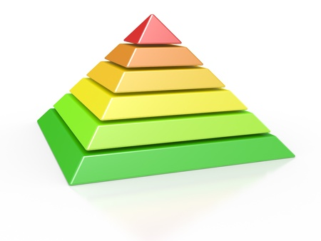 3d illustration of a pyramid with six colored levels illustration