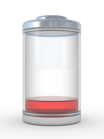 low glass: Low level of a charge of the battery. 3d an illustration on a white background