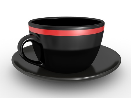 coffeecup: 3d illustration of Realistic black coffe cup over white background Stock Photo