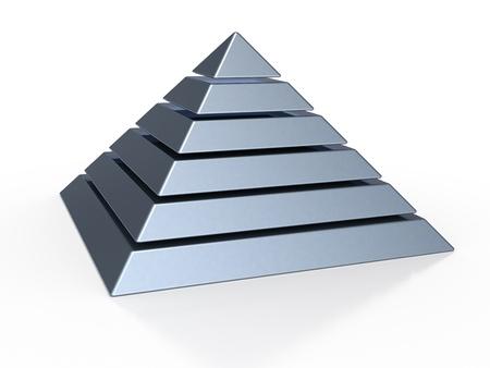 3D Darstellung der eine Pyramide mit sechs farbigen Ebenen