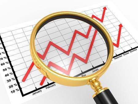 audit: 3D-Grafik die mit einer Lupe, das Konzept der tiefgreifenden Analyse des Marktes