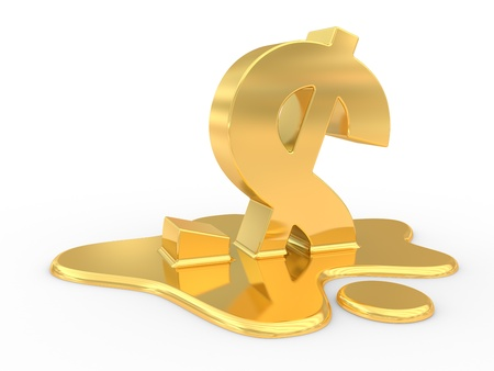 fused: fused dollar sign. 3d illustration on a white background