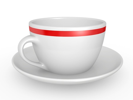coffeecup: 3d illustration of Realistic white coffe cup over white background