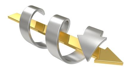 interactions: Twee pijlen - de concurrentie en interactie concept geïsoleerd op een witte