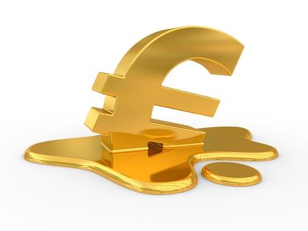 Melting euro sign. Financial problem concept