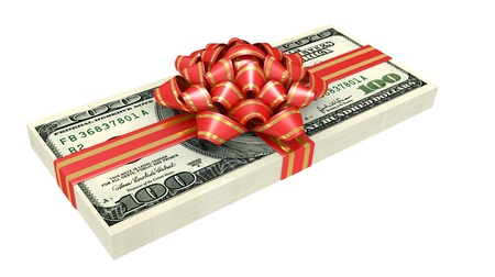 one dollar bill: Gift of money, dollars bank notes, tied a red ribbon with a bow, the concept of success