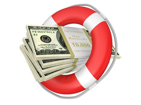 credit union: Life buoy with dollar. 3d illustration isolated on a white