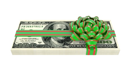 Gift of money, dollars bank notes, tied a red ribbon with a bow, the concept of success photo