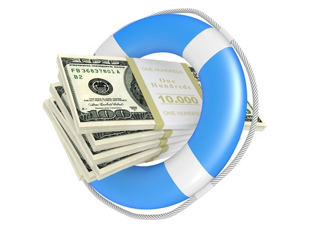 lifebouy: Life buoy with dollar. 3d illustration isolated on a white