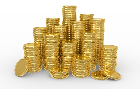 contribution: Heap gold coins. Business concept. 3D illustration on white background