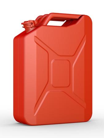 petrol can: Gasolina jerric�n sobre un fondo blanco Foto de archivo
