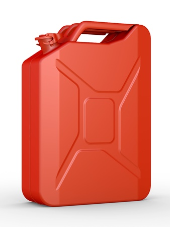 gas can: Gasoline jerrican on a white background