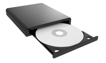 CD-ROM in drive. isolated 3d image. photo