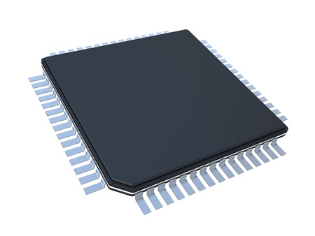 microprocessors: modern microchip isolated on white background Stock Photo