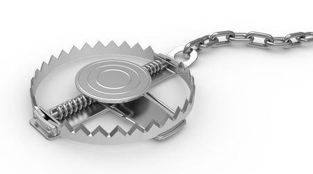 traps: big steel trap , 3d illustration on a  white background