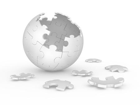 3d illustration broken sphere of puzzle on white background