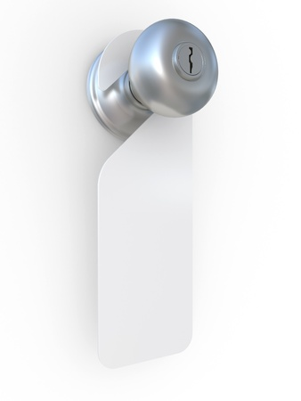 3d illustration of empty label on a door handle illustration