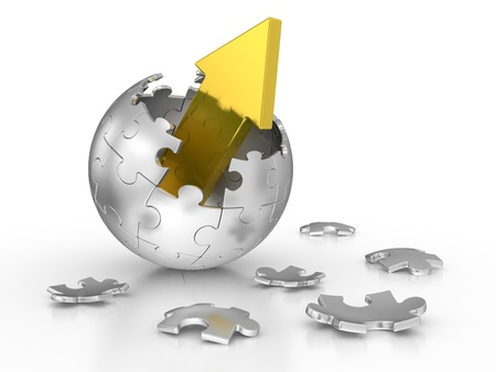 outstanding:  broken sphere of puzzle with red arrow. leadership concept Stock Photo