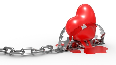 deceit: red heart in the trap and blood on white background, 3d illustrations