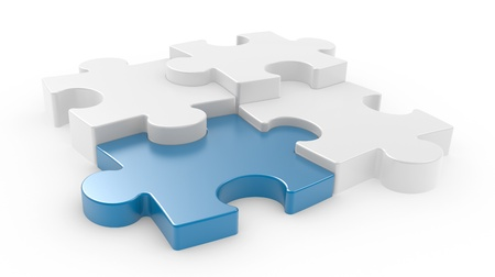 four objects: Four puzzle pieces interconnected with each other over white background. 3d illustration