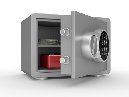 robbery: 3d illustration of opened steel bank safe with money and documents