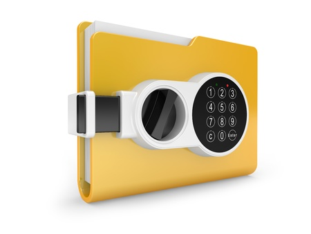 Yellow computer folder with digital lock and key. 3d image on a white photo