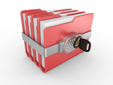 Blue computer folder with digital lock and key  3d image on a white Stock Photo - 12677283